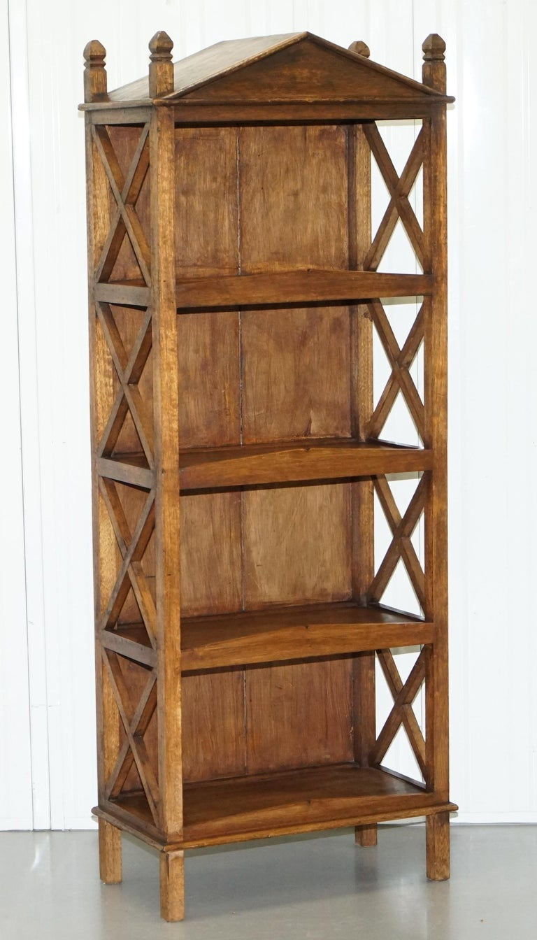 Stunning Pair of Steeple Top Solid Wood Bookcases Very Decorative Matching Set For Sale 10
