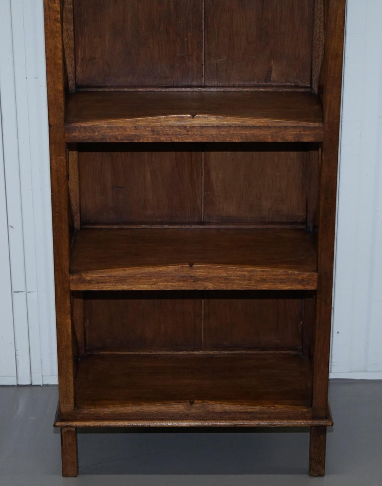 Stunning Pair of Steeple Top Solid Wood Bookcases Very Decorative Matching Set For Sale 13