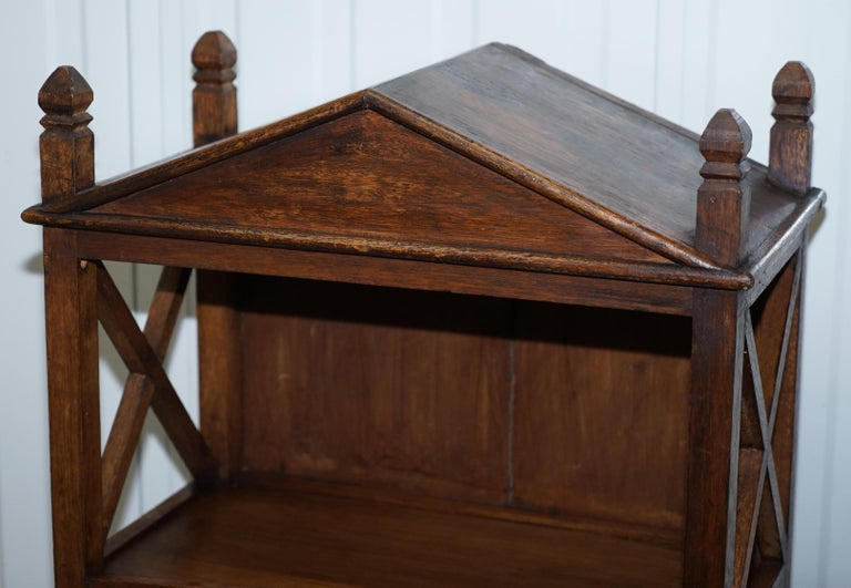 Stunning Pair of Steeple Top Solid Wood Bookcases Very Decorative Matching Set For Sale 14