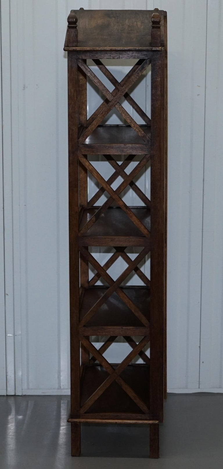 Stunning Pair of Steeple Top Solid Wood Bookcases Very Decorative Matching Set For Sale 15