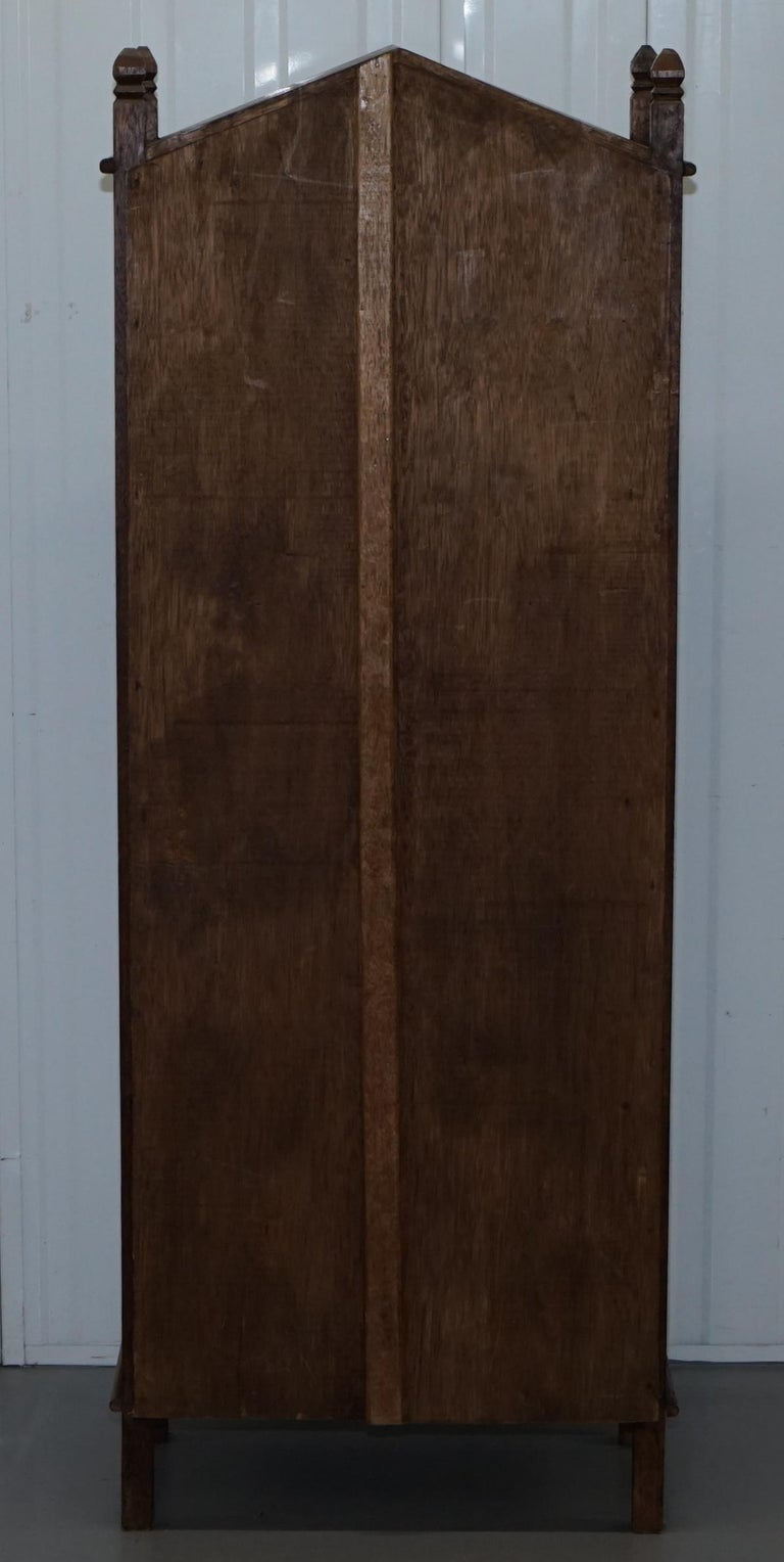 Stunning Pair of Steeple Top Solid Wood Bookcases Very Decorative Matching Set For Sale 16