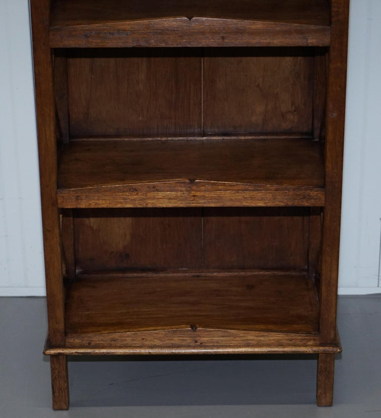 Stunning Pair of Steeple Top Solid Wood Bookcases Very Decorative Matching Set For Sale 2