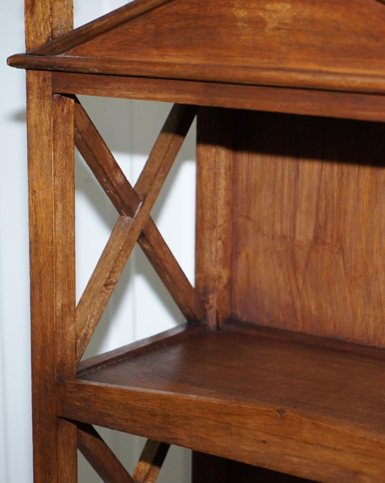 Stunning Pair of Steeple Top Solid Wood Bookcases Very Decorative Matching Set For Sale 3