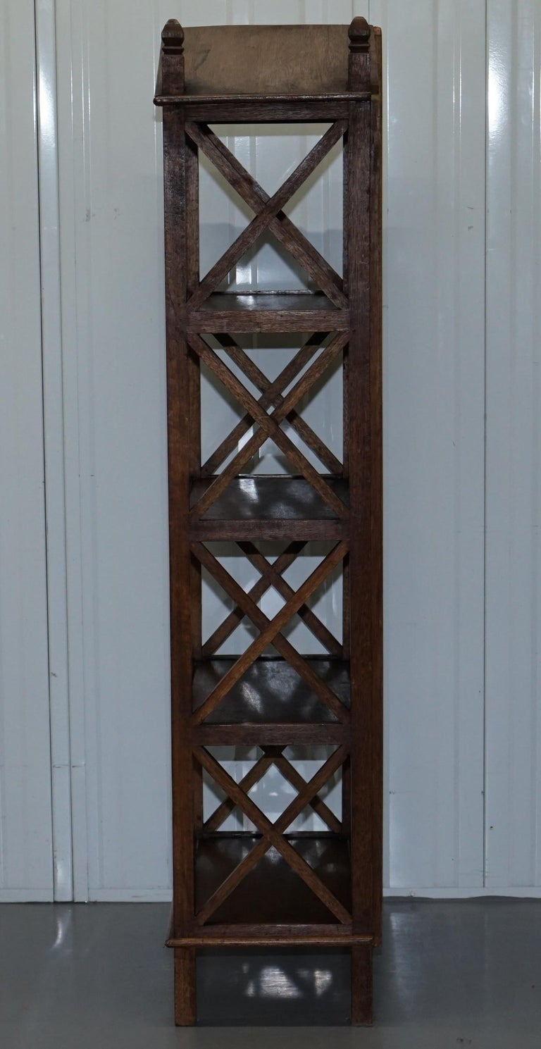 Stunning Pair of Steeple Top Solid Wood Bookcases Very Decorative Matching Set For Sale 5
