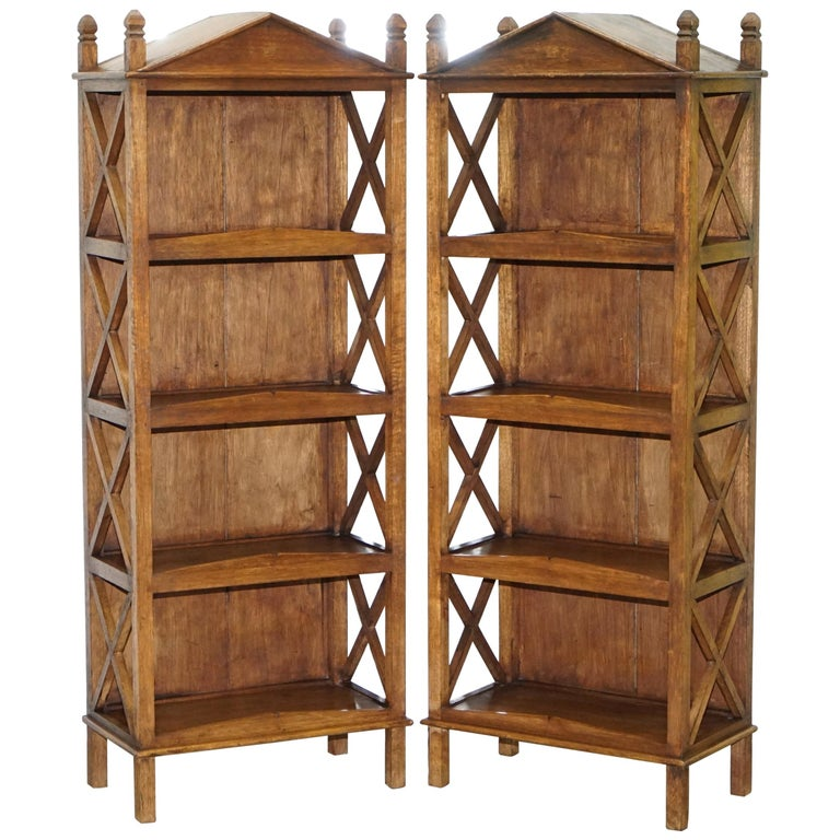 Stunning Pair of Steeple Top Solid Wood Bookcases Very Decorative Matching Set For Sale