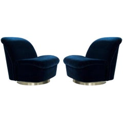 Stunning Pair of Swivel Tilt Lounge Chairs by Directional