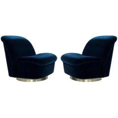 Pair 1980's Vladimir Kagan For Directional Swivel Tilt Lounge Chairs