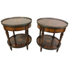 Stunning Pair of Theodore Alexander Round Two-Tier Inlaid Side Tables