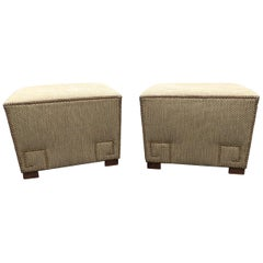 Stunning Pair of Upholstered Ottomans with Greek Key Nailhead Motife