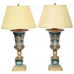Stunning Pair of Vintage Decalcomania Armorial Lamps