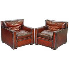 Stunning Pair of Vintage Made in Chelsea Bordeaux Leather Armchair Part of Suite