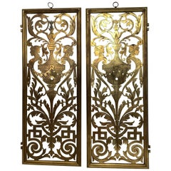 Stunning Pair of Vintage Pierced and Etched Brass Panels