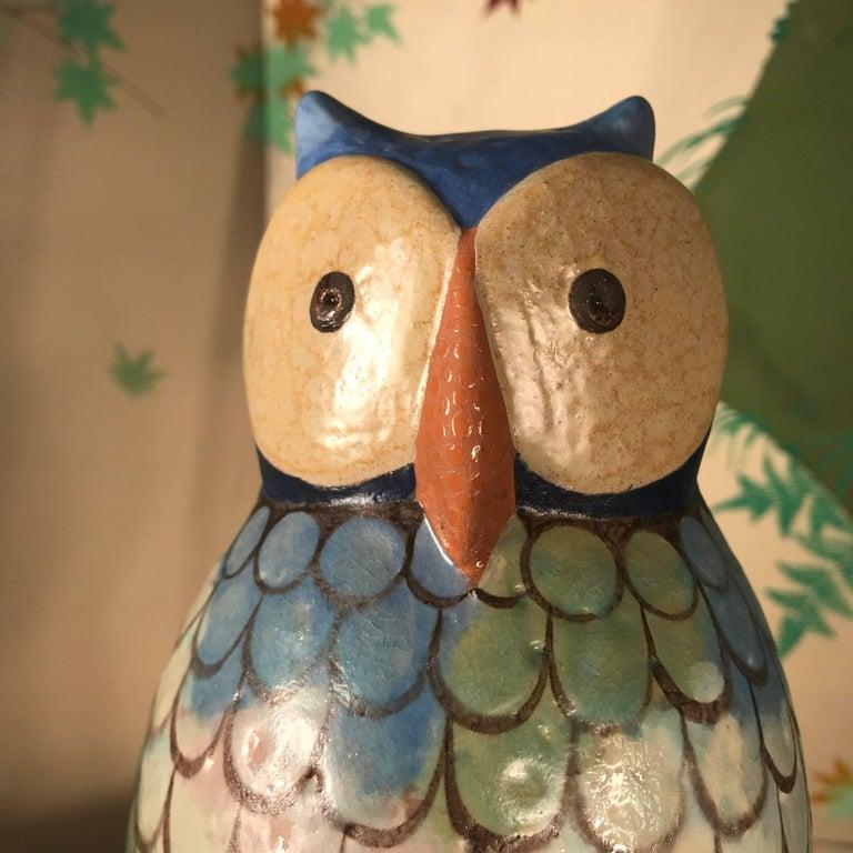 Stunning Pair of Owls Handmade Hand Glazed, Master Designer Eva Fritz-Lindner For Sale 2