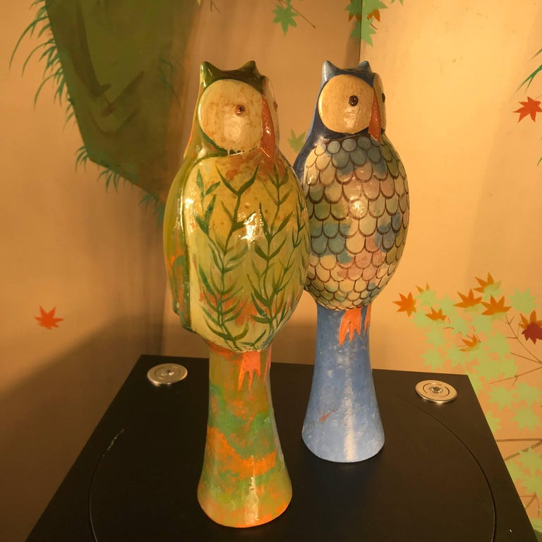 Hand-Crafted Stunning Pair of Owls Handmade Hand Glazed, Master Designer Eva Fritz-Lindner For Sale