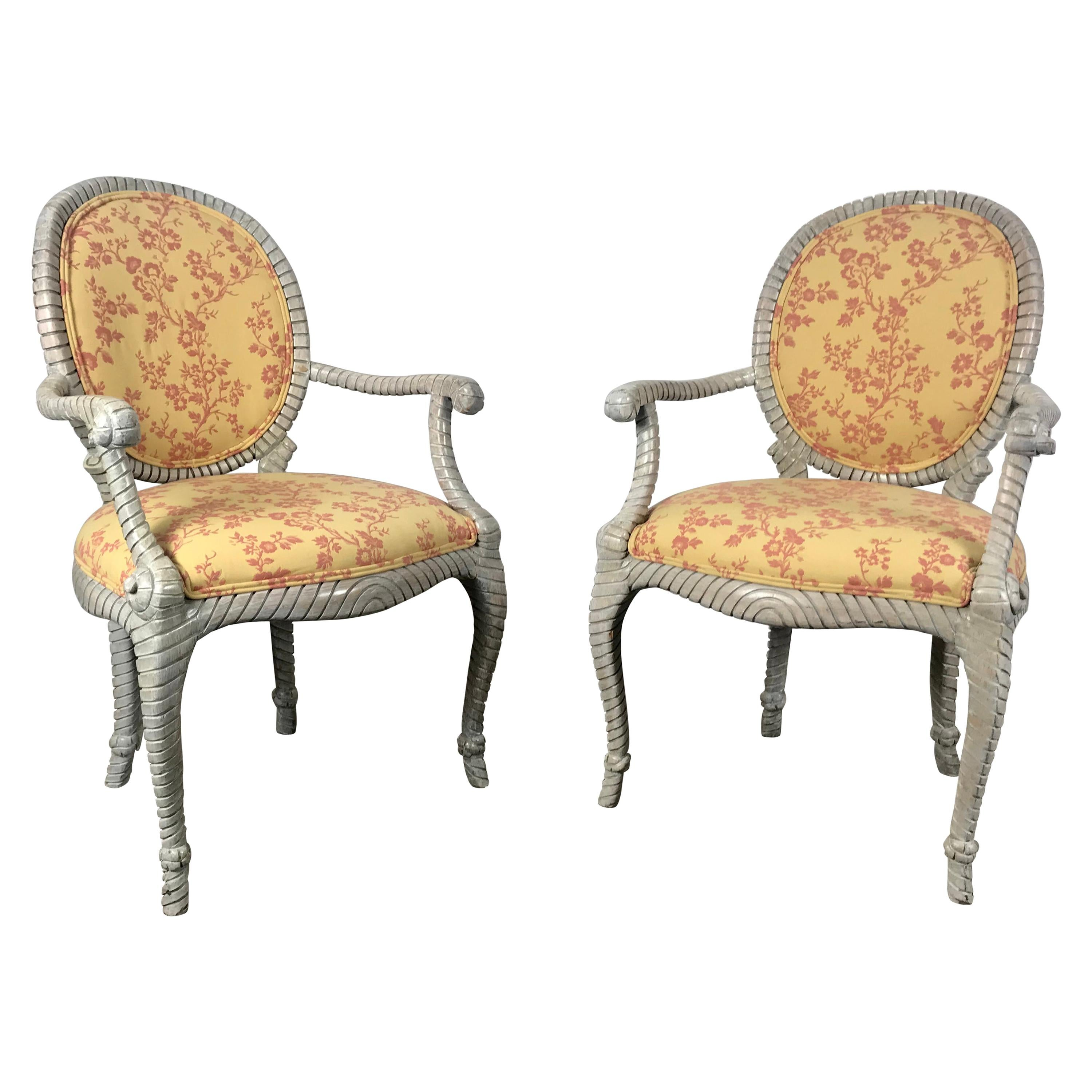 Stunning Pair of Rope and Tassel Louis XVI Style Armchairs, Faux Bois