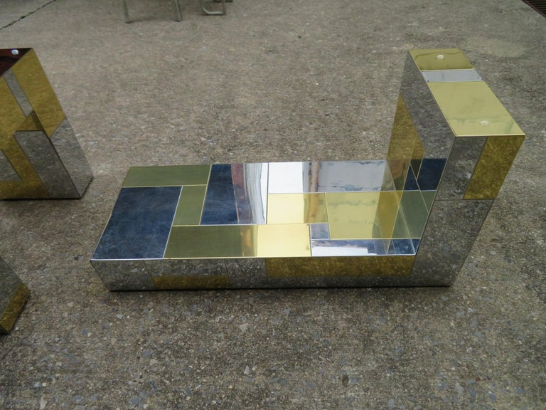 Stunning Paul Evans Cityscape Brass Chrome Patchwork Coffee Table Directional For Sale 4