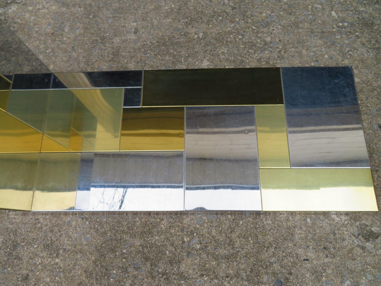Stunning Paul Evans Cityscape Brass Chrome Patchwork Coffee Table Directional For Sale 5