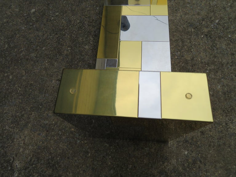 Stunning Paul Evans Cityscape Brass Chrome Patchwork Coffee Table Directional For Sale 6
