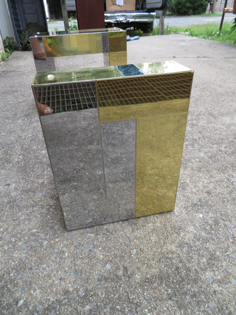 Stunning Paul Evans Cityscape Brass Chrome Patchwork Coffee Table Directional For Sale 7