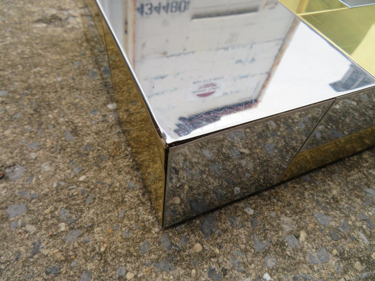 Stunning Paul Evans Cityscape Brass Chrome Patchwork Coffee Table Directional For Sale 9
