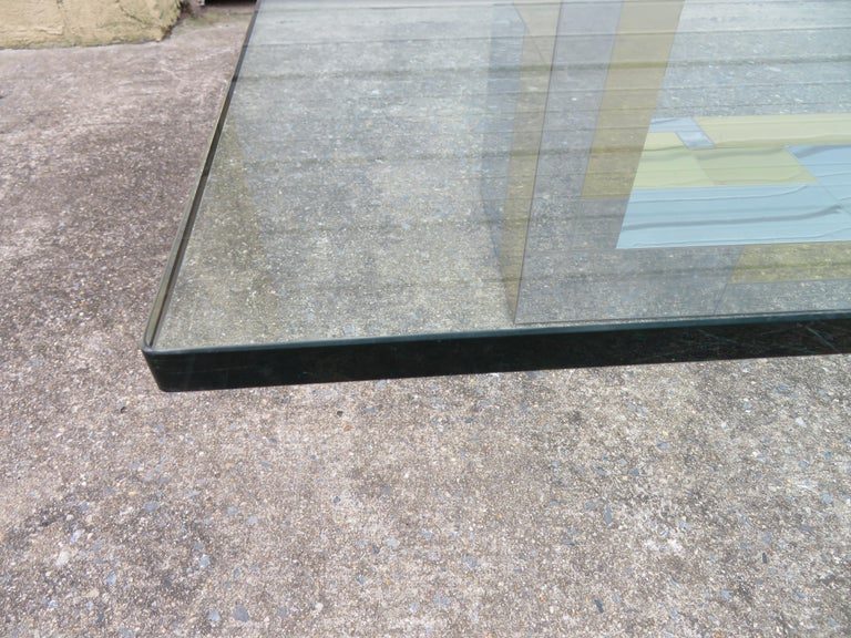 Stunning Paul Evans Cityscape Brass Chrome Patchwork Coffee Table Directional In Good Condition For Sale In Medford, NJ