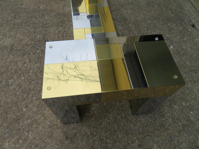 Late 20th Century Stunning Paul Evans Cityscape Brass Chrome Patchwork Coffee Table Directional For Sale