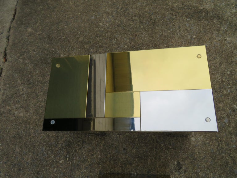 Stunning Paul Evans Cityscape Brass Chrome Patchwork Coffee Table Directional For Sale 1