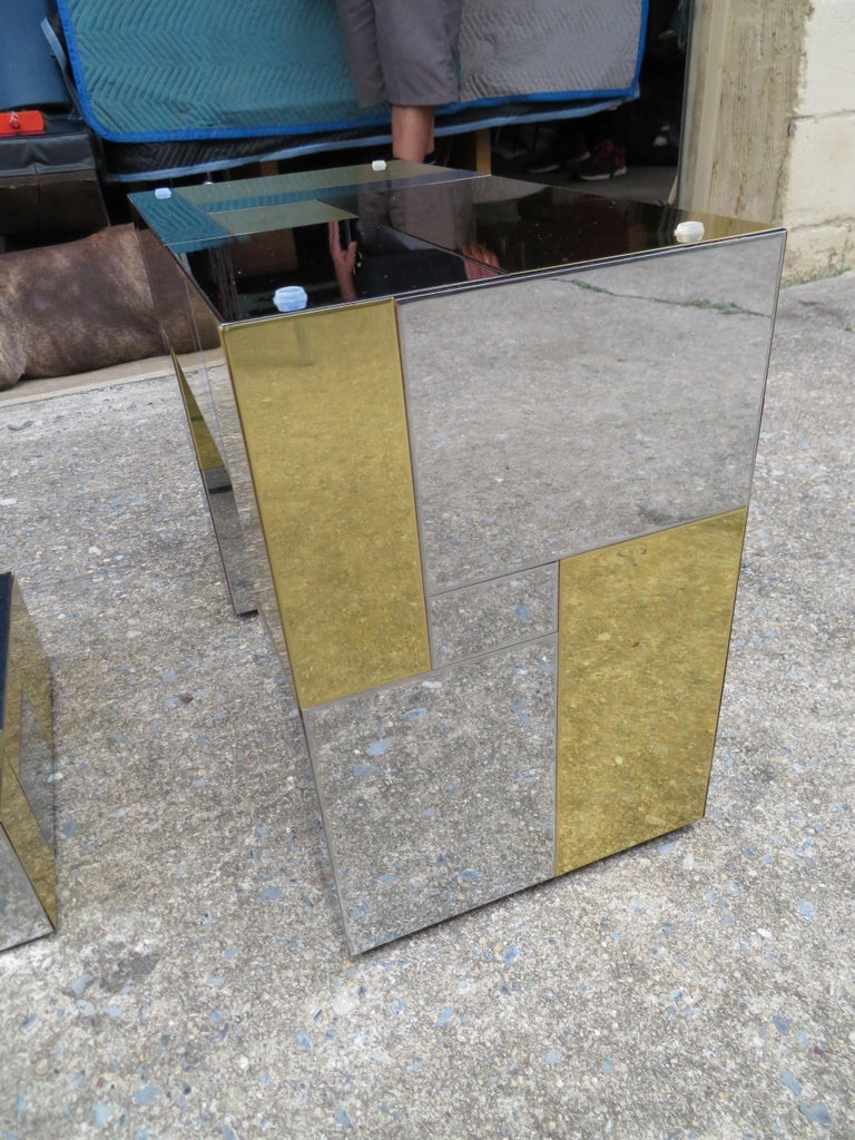 Stunning Paul Evans Cityscape Brass Chrome Patchwork Coffee Table Directional For Sale 2