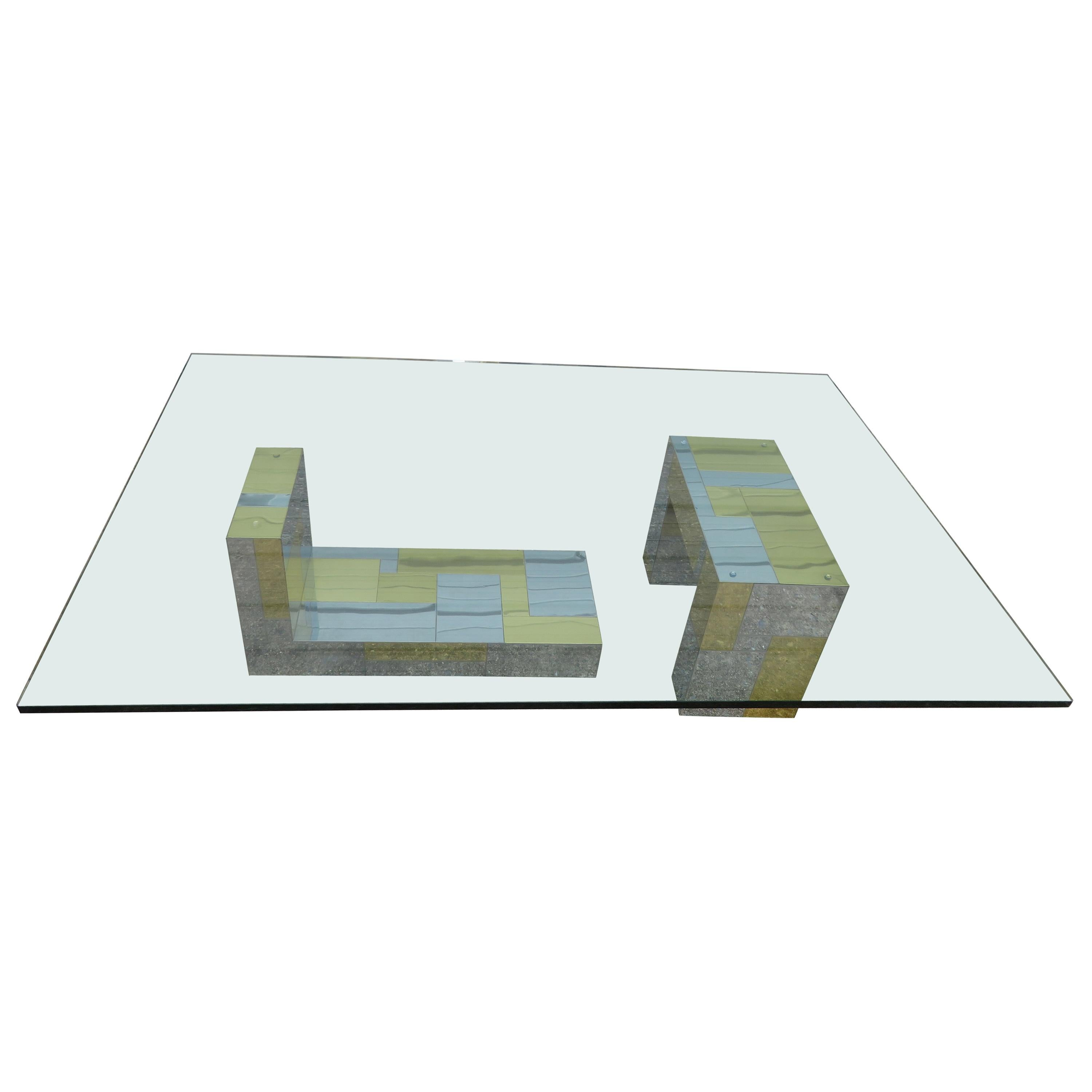 Stunning Paul Evans Cityscape Brass Chrome Patchwork Coffee Table Directional
