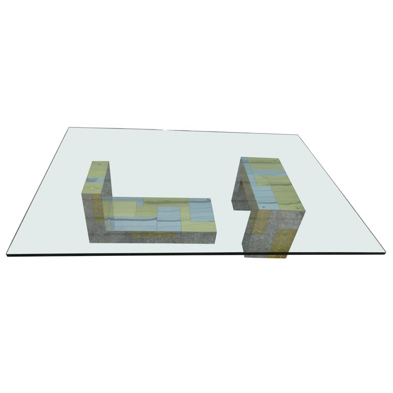 Stunning Paul Evans Cityscape Brass Chrome Patchwork Coffee Table Directional For Sale