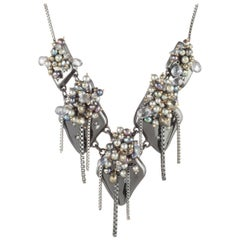 Stunning Peacock Pearl Cluster Necklace by Designer Alexis Bittar Estate Find