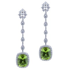 Stunning Peridot Pair for Classic Style 18kt Earrings w Baguette Round Diamonds
