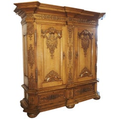 Stunning Period Regence Armoire in Carved Oak, France, Circa 1720