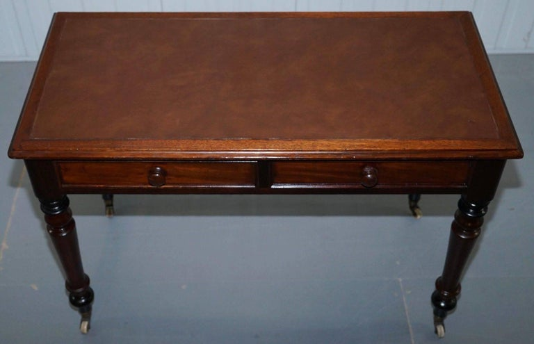 British Stunning Period Victorian Mahogany Writing Desk 1860 Lovely Function Piece For Sale