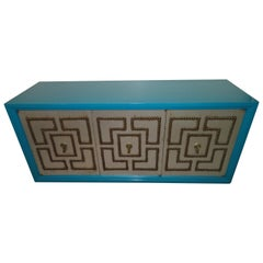 Stunning Petite Parzinger Style Studded Console Credenza Mid-Century Modern