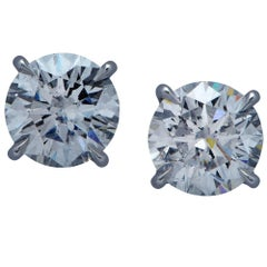 Stunning 2.44 Carat Diamond Platinum Stud Earrings