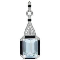 Stunning Platinum Aquamarine Pendant Accented by Onyx and Diamonds
