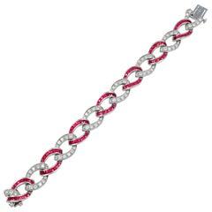 Stunning Platinum Diamond and Ruby Link Bracelet