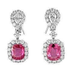 Stunning Platinum Pink Sapphire and Diamond Earrings