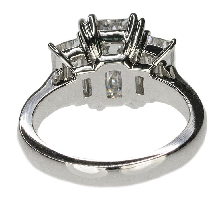 Stunning Platinum Three Emerald Cut Diamond Ring For Sale 1