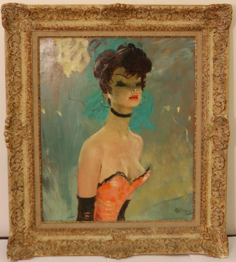 This stunning portrait of Caroline is by Jean Gabriel Domergue (1889-1962). It was painted circa 1950. Oil on hardboard. It has a great dimension 65 x 54cm, Signed bottom right. Titled on the reverse