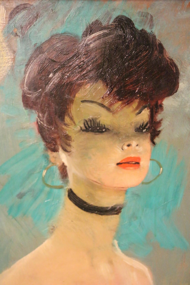 Mid-Century Modern Stunning Portrait by J-G Domergue, France, with Noé Willer Certificate