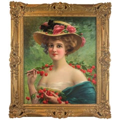 Youthful Beauty, Oil on Canvas, Signed E Vernon, French