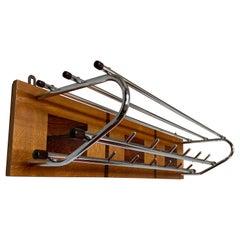 Stunning & Practical Mid-Century Modern Wood & Chrome-Steel Wall Coat Rack 1960s