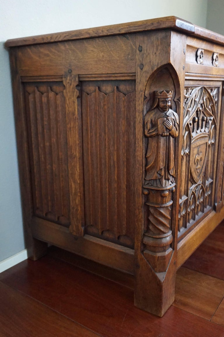 Stunning And Quality Carved Gothic Revival Blanket Chest