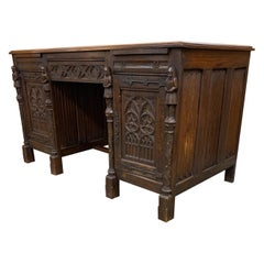 Stunning & Quality Carved Gothic Revival Desk with Church Window Panels & Guards