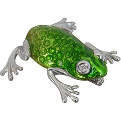 Stunning Quality Heavy 18 Carat White Gold Green Enamel and Diamond Frog Brooch