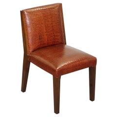 Stunning Ralph Lauren Crockadile Patina Brown Leather Office Desk Captains Chair