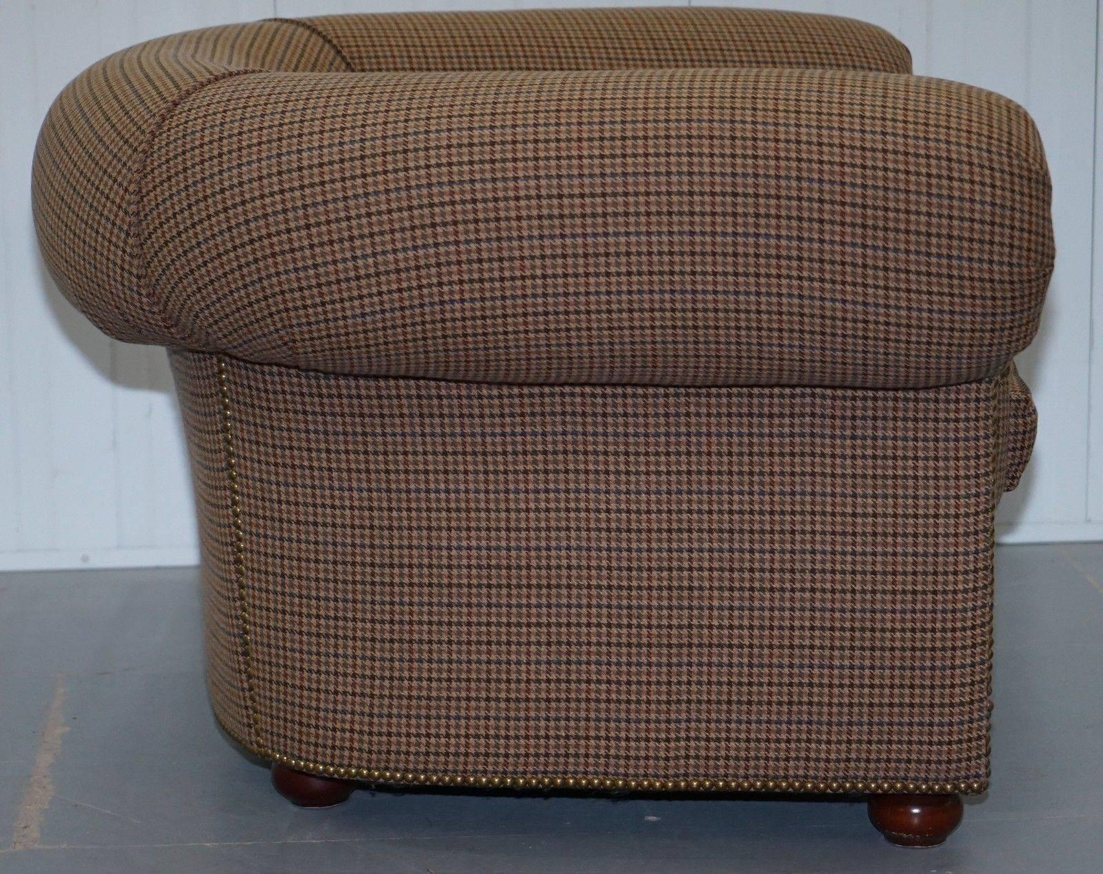 Stunning Ralph Lauren Cub Armchair, Herringbone Wool Upholstery  Chesterfield For Sale 1