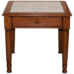 Stunning Ralph Lauren Large Side Table with Marble Top and Single Drawer